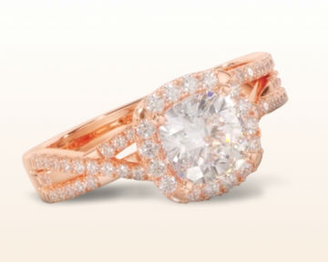 rose gold halo engagement rings cushion braided pave diamond