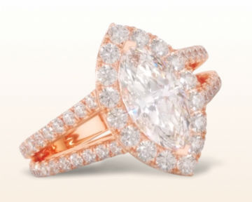 rose gold halo engagement rings marquise split shank diamond