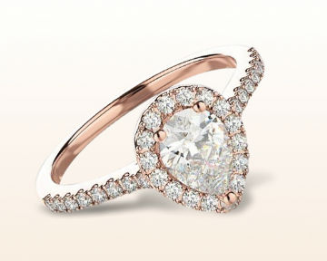 rose gold halo engagement rings pear pave diamond
