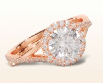 rose gold halo engagement rings twisting diamond