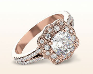 rose gold halo engagement rings vintage flower diamond