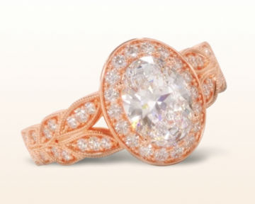 rose gold halo engagement rings vintage milgrain oval
