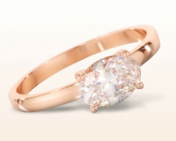 rose gold oval engagement rings classic four prong east west solitaire