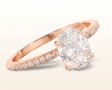 rose gold oval engagement rings micropave diamond
