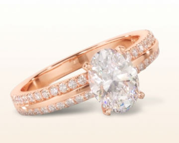 rose gold oval engagement rings pave edged