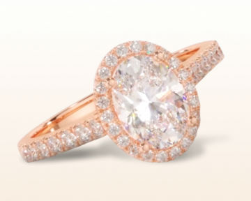 rose gold oval engagement rings paved halo