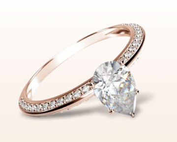 rose gold pear shaped engagement rings duet pave