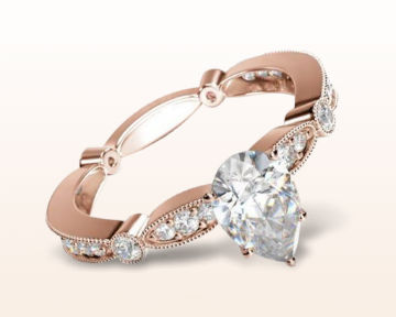 rose gold pear shaped engagement rings four points