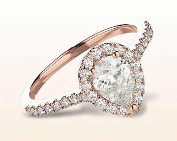 rose gold pear shaped engagement rings pave halo