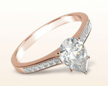 rose gold pear shaped engagement rings princess