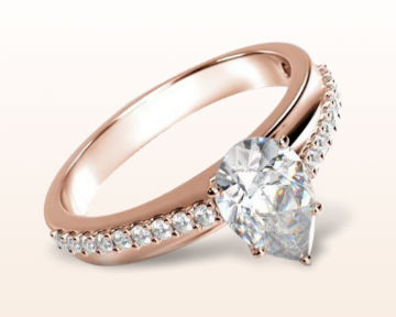 rose gold pear shaped engagement rings rising accents