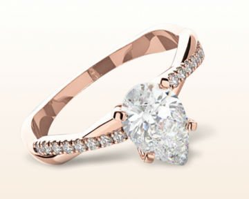 rose gold pear shaped engagement rings vine diamond