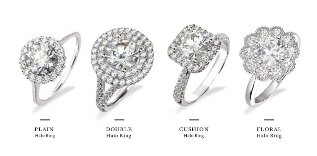 differing styles for round halo engagement rings
