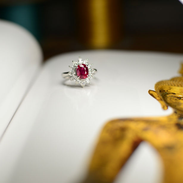 ruby ring on open book