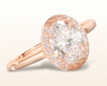 simple rose gold engagement rings oval plain shank halo