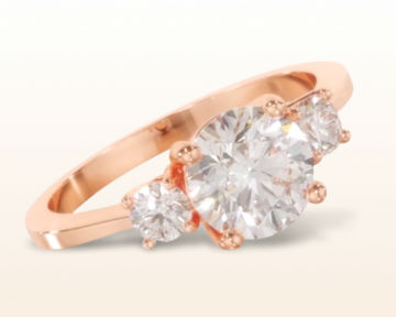 simple rose gold engagement rings petite three stone