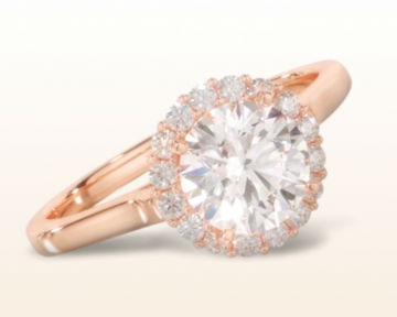 simple rose gold engagement rings plain shank halo