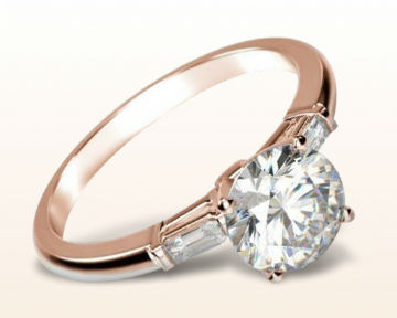 simple rose gold engagement rings three stone baguette