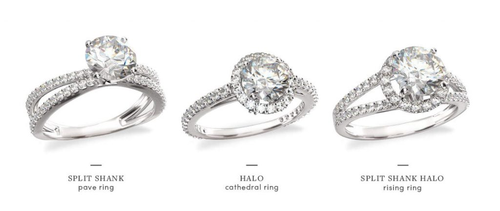 split shank halo engagement rings comparison with setting variations