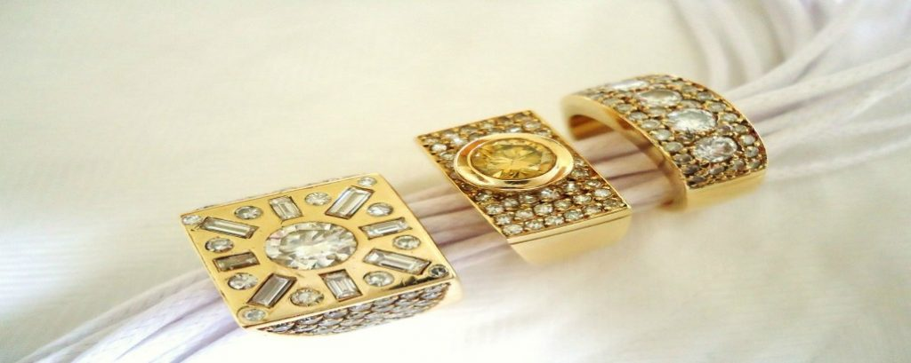 yellow diamonds set in rings