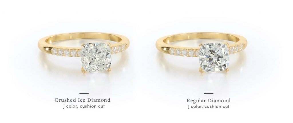 yellow gold cushion cut engagement rings with regular versus crushed ice center stone