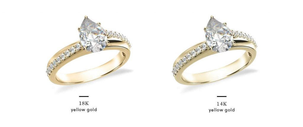 yellow gold pear shaped engagement rings in 14k vs 18k