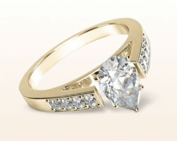 yellow gold pear shaped engagement rings cathedral pave