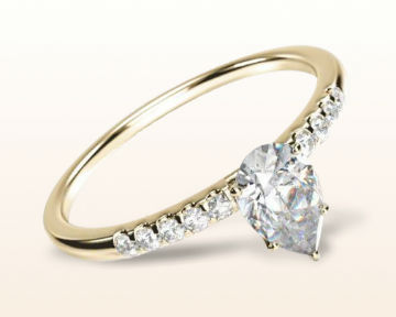 yellow gold pear shaped engagement rings traditional pave