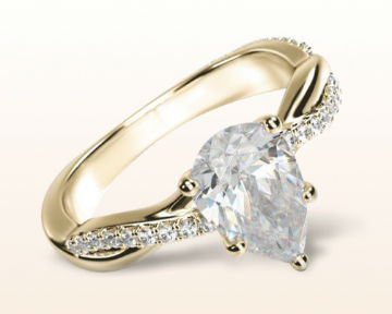 yellow gold pear shaped engagement rings twisting vine