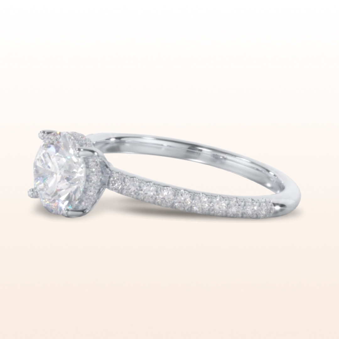 high setting engagement rings Diamond Basket Pave