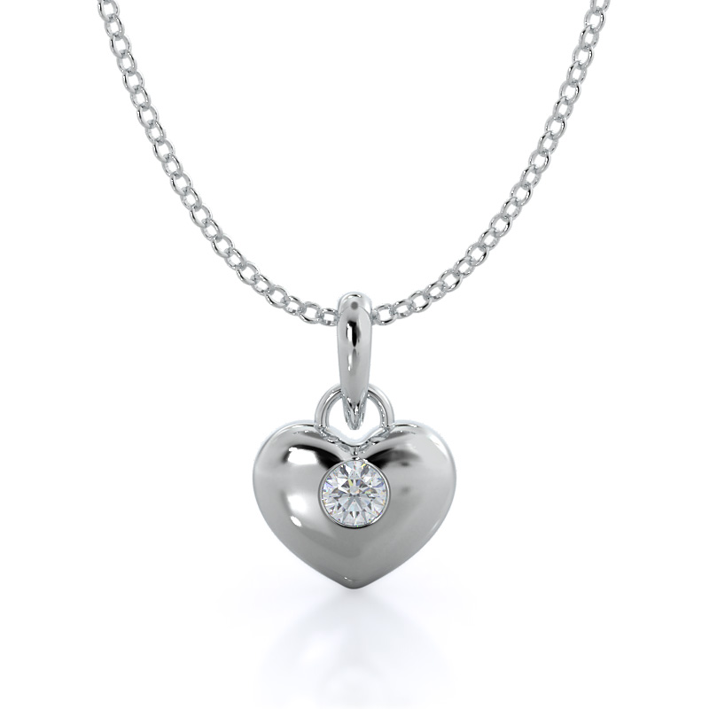 Solid diamond heart pendant; 14kt white gold
