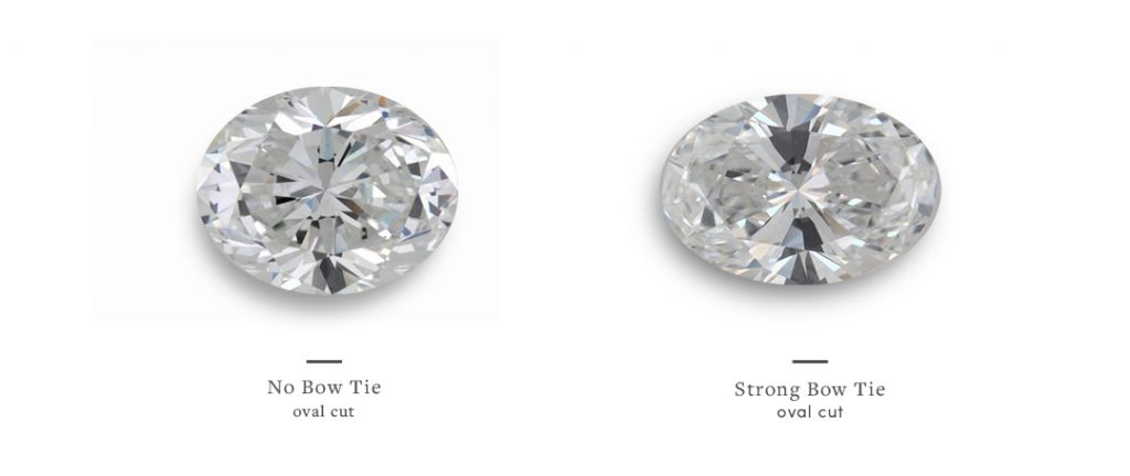 Oval Shape Diamond with and without a bow-tie effect