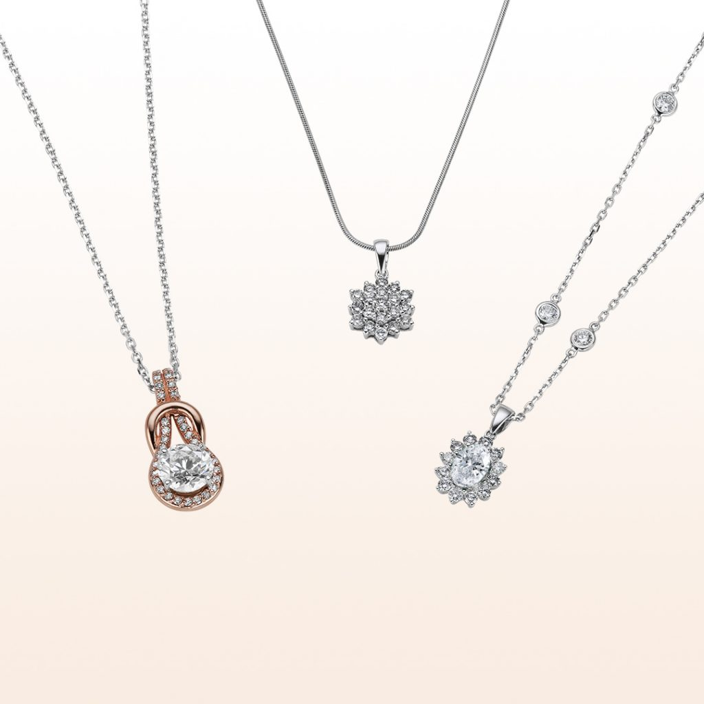 Three lab diamond necklaces