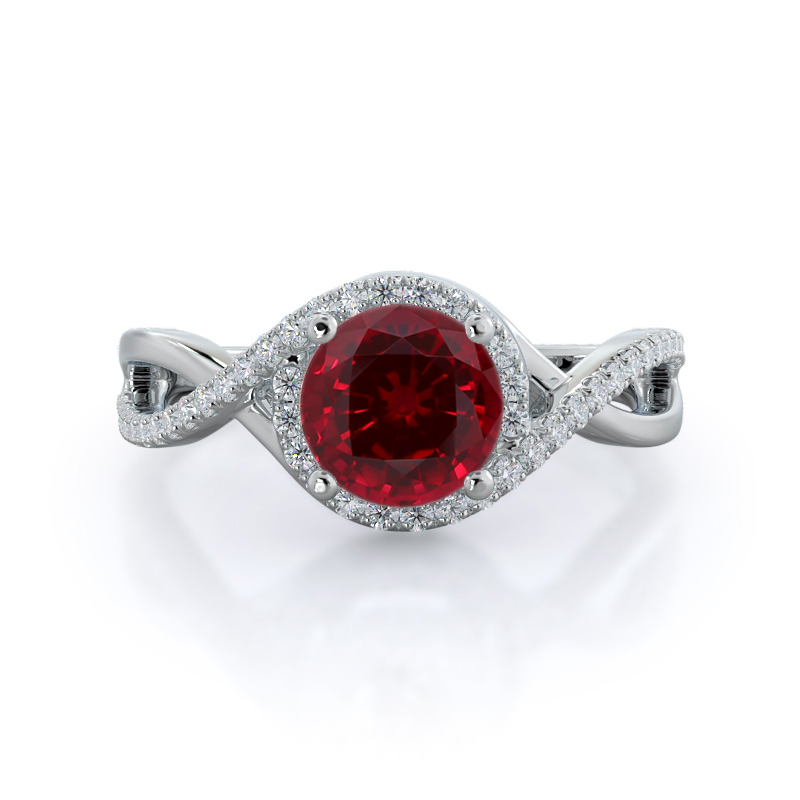 Open Twist Halo Ruby Ring, 14KT White Gold