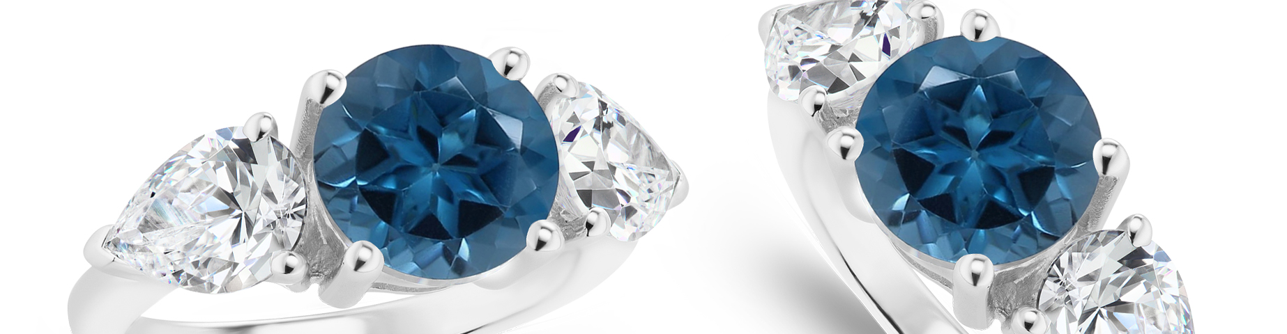 Two London Blue Topaz Three Stone Rings in white gold