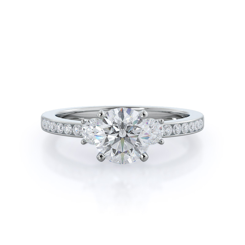 Duet diamond engagement ring, 14kt white gold, Round shape diamond