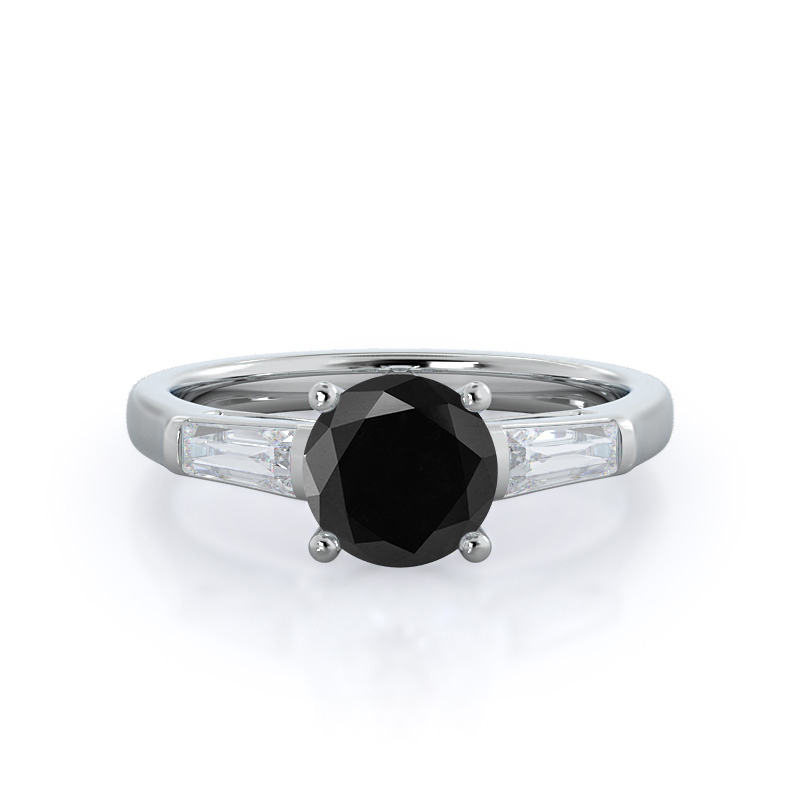 Elegance Three Baguette Black Diamond Ring