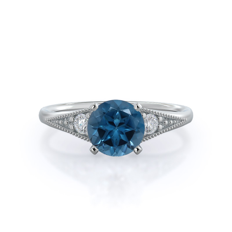 Heirloom Milgrain London Blue Topaz Ring