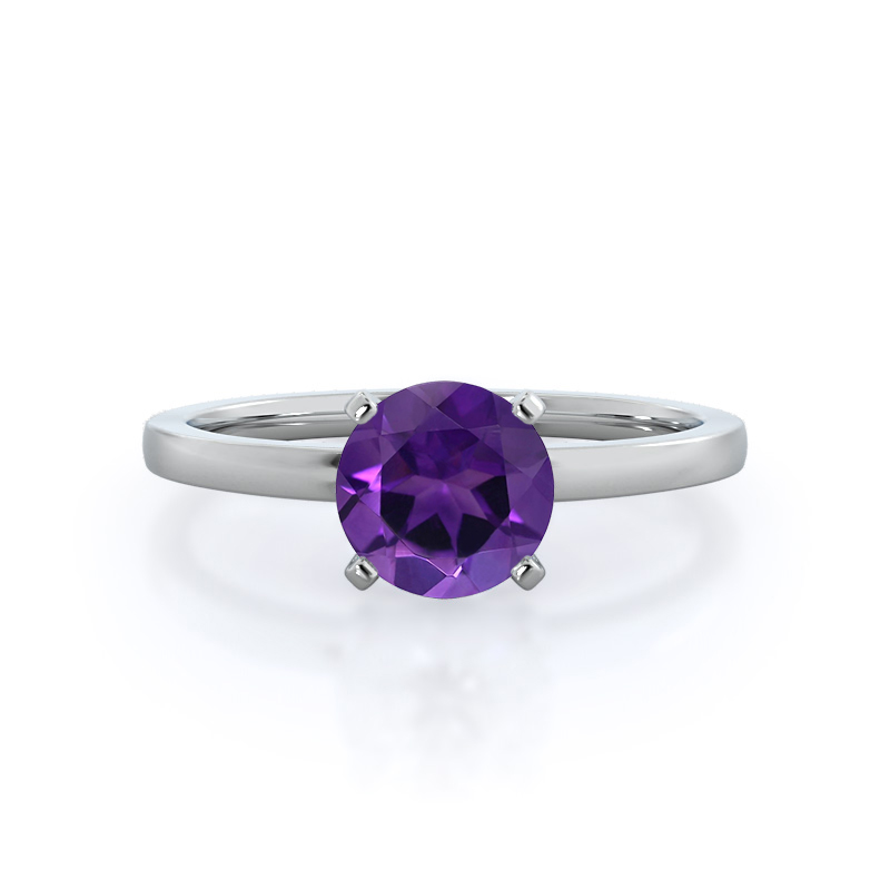 Petite Solitaire Amethyst Ring