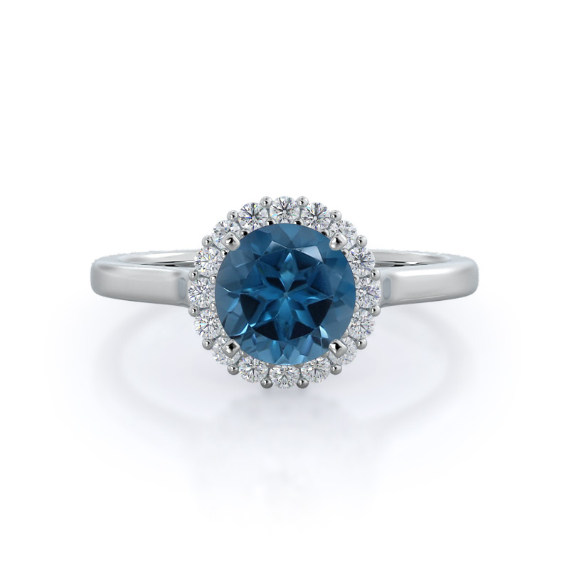 Plain Shank Halo London Blue Topaz Ring
