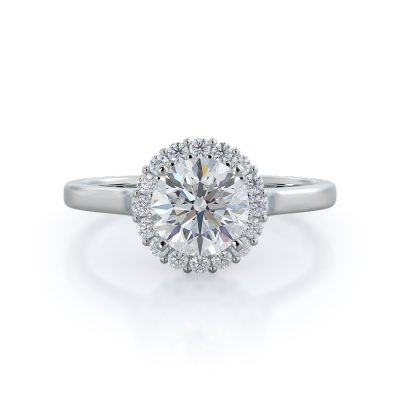Plain shank halo diamond ring