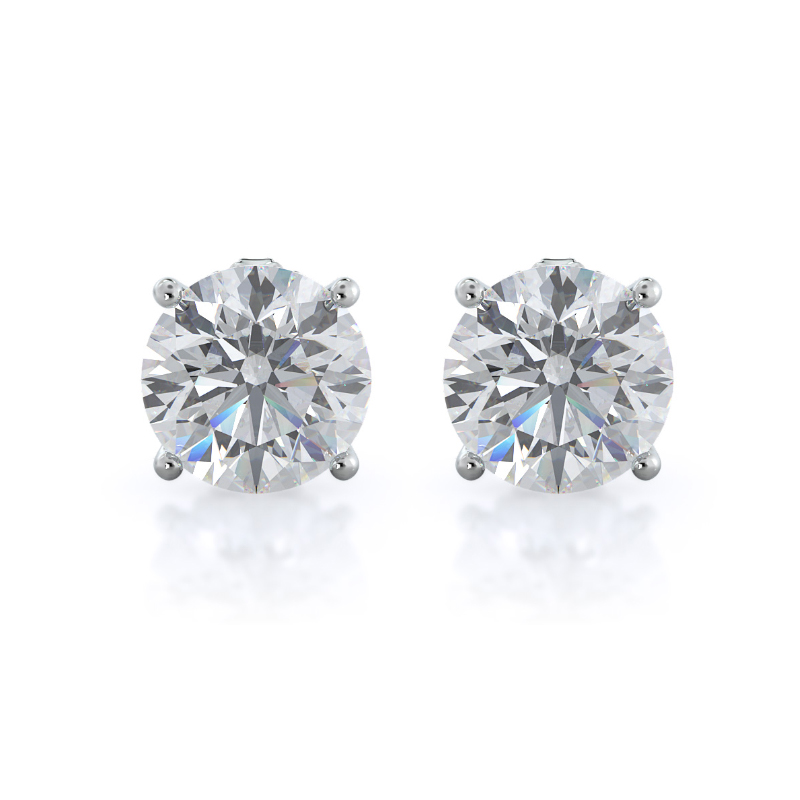 Round Diamond Stud Earrings, 14KT White Gold