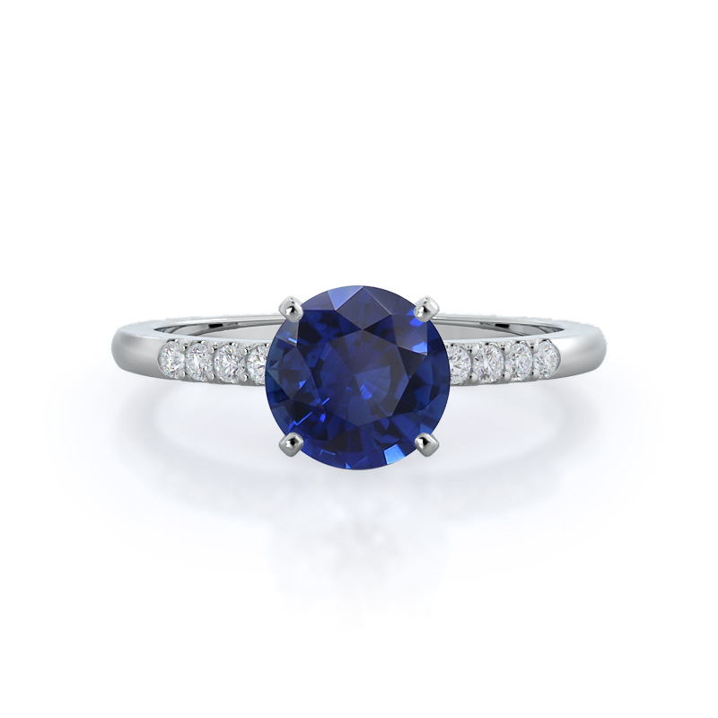 Traditional Pave Sapphire Ring