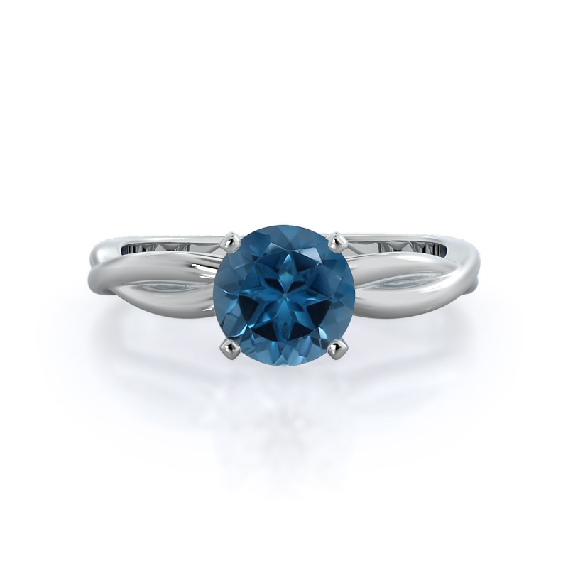 Twisting Solitaire London Blue Topaz Ring