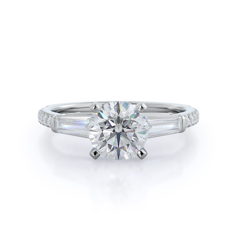 With Clarity Three stone tapered baguette diamond engagement ring