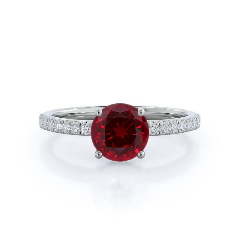 Diamond Basket Pave Ruby Ring, 14KT White Gold