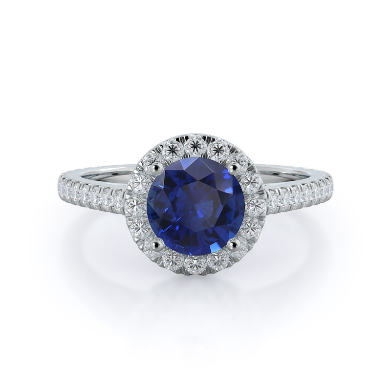 With Clarity Cathedral Halo Sapphire Ring