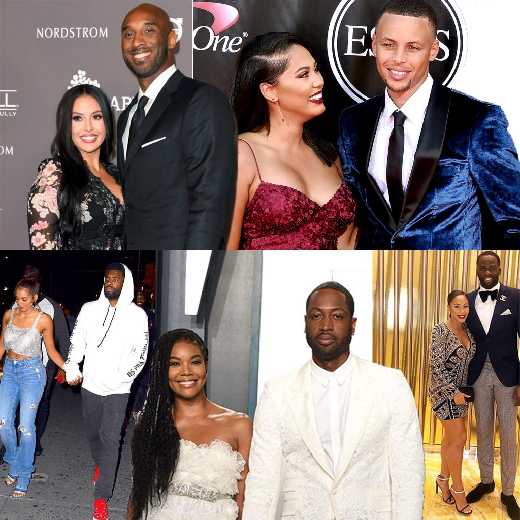 NBA couples: Gabrielle Union and Dwyane Wade, Golden/Marlene Wilkerson and Kyrie Irving, Ayesha Alexander and Stephen Curry, Vanessa Laine and Kobe Bryant, and Hazel Renee and Draymond Green