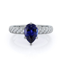 Braided Row Pear Sapphire Ring 14KT White Gold