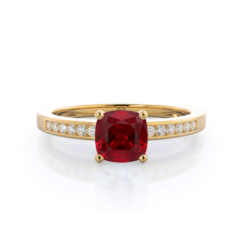 Cascading Channel Set Cushion Ruby Ring, 14kt Yellow Gold